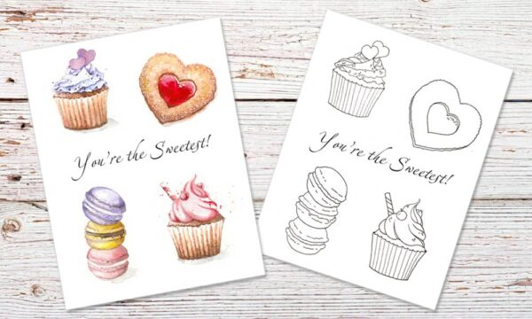 You Are The Sweetest - Valentines Card Coloring Page - Red ...