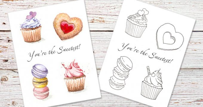 You Are The Sweetest – Valentines Card Coloring Page