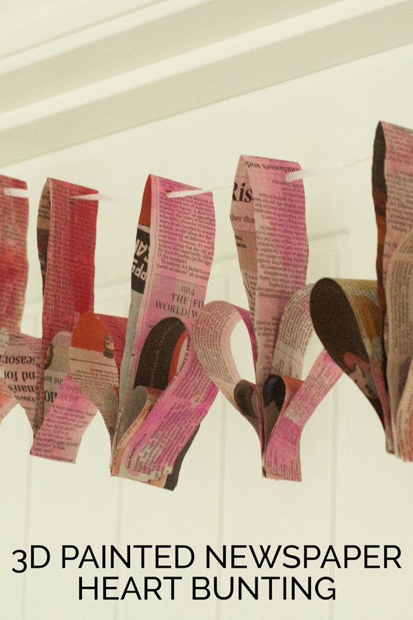 Newspaper Heart Garland - a fabulous upcycled valentines day project. Make these easy newspaper 3d hearts with the kids. Simple and pretty!