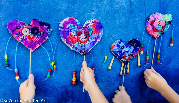 Art Heart Puppets - DIY recycled heart puppets, a cute and fun Valentines Art Activity for kids!