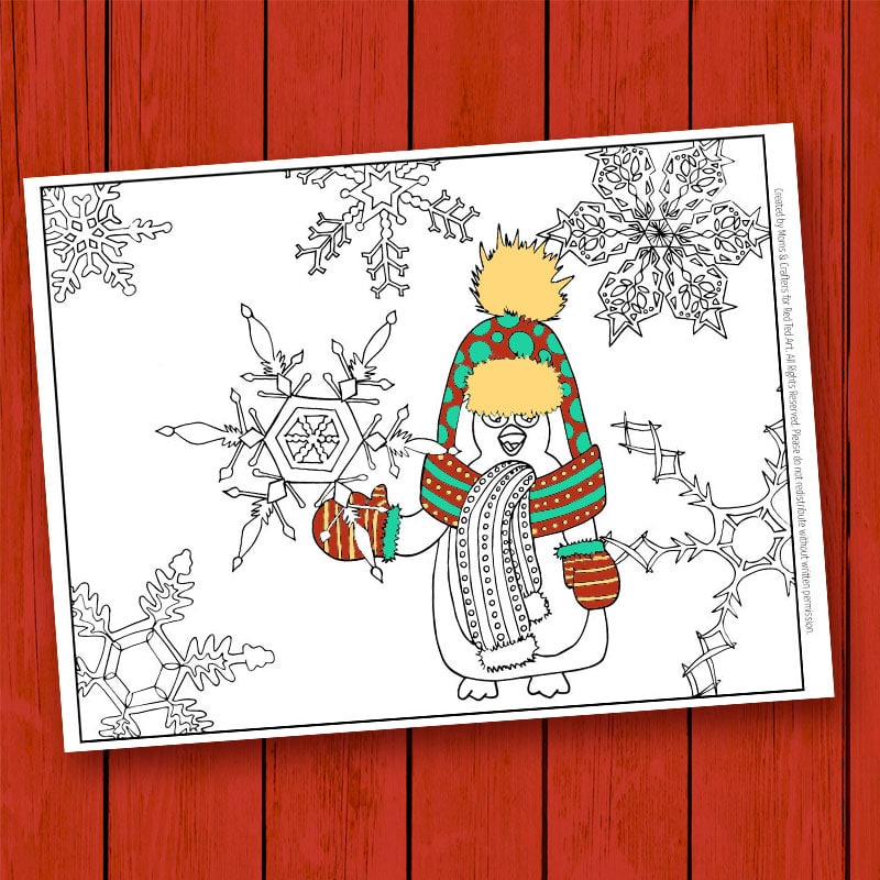 Adorable Winter Penguin Coloring Page for Grown Ups. Love. Such a great coloring page to sit down with a cup of coffee with and relax!