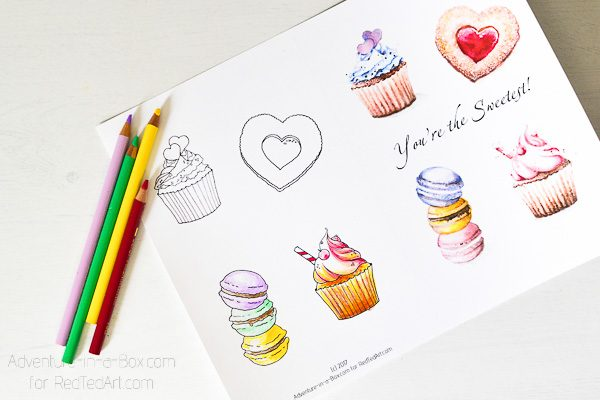 "Valentines Card Coloring Page - create your own ""You Are The Sweetest"" Valentine's Day Card, either print the full color one, or color it in yourself!"