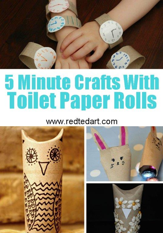 Toilet Paper Roll Crafts for Kids - quick 5 minute crafts for kids with TP Rolls