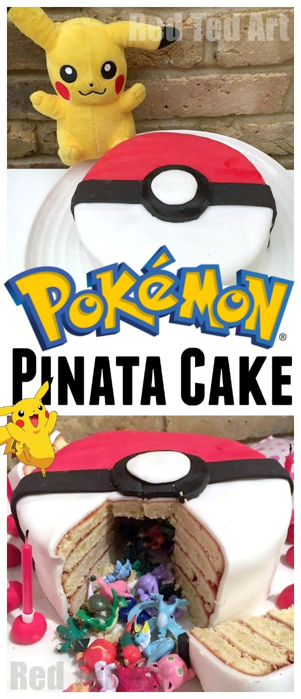 Easy DIY Pokeball Pinata Cake. If your kids want a DIY Pokemon Cake for their birthday, this cake is surprisingly easy to make and OH SO FUN!!!!!