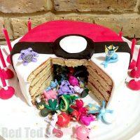 DIY Pokemon Cake – Surprise Pinata Pokeball Cake