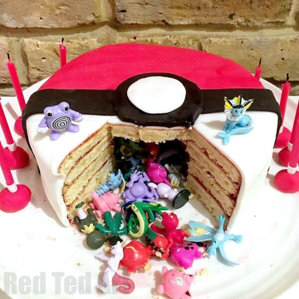 Pleasing Diy Pokemon Cake Surprise Pinata Pokeball Cake Red Ted Art Personalised Birthday Cards Bromeletsinfo