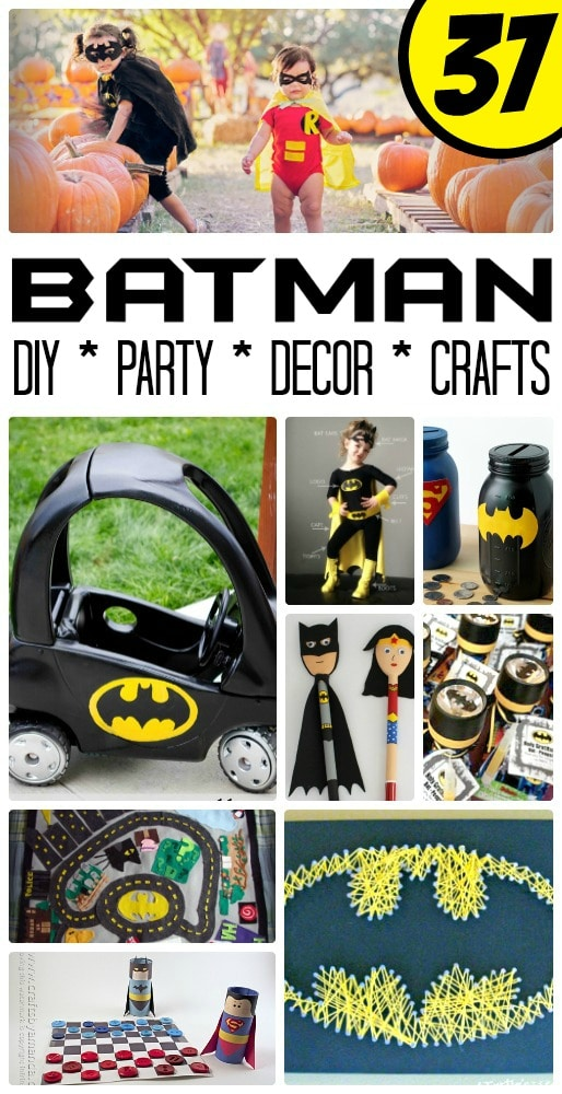Easy Batman DIY Ideas - oh my goodness, if you are a Batman Fan (or adore the new LEGO Batman Movie), are hosting a Batman Party or need to create a Batman Room Make Over, you simply have to check out this amazing collection of Easy Batman DIY Ideas. So many cool, quirky and fun Batman Crafts and DIYs to craft your heart out!