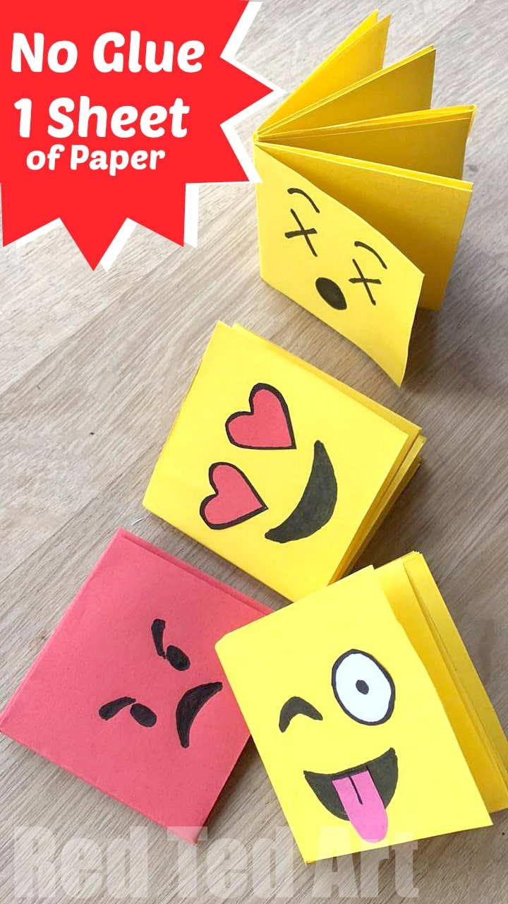 Emoji mini notebook diy one sheet of paper red ted art for Easy things to make out of paper