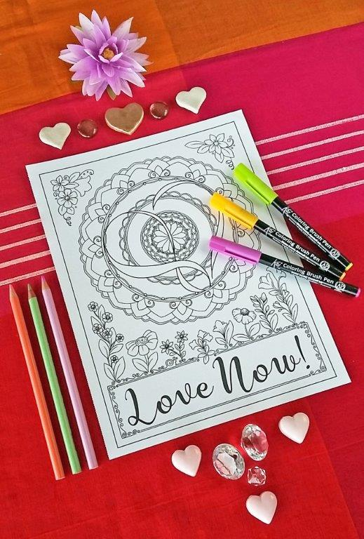 Love Mandala Coloring Page - color your way to love this Valentines