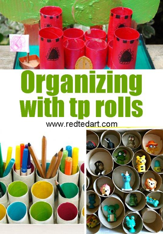 Toilet Paper Roll Crafts for Kids - get organised with these TP Roll Organisers