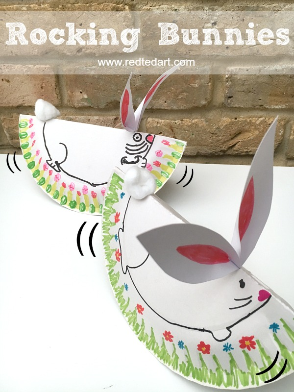 Oh my goodness these Rocking Bunnies are so CUTE!!! Love how very  sc 1 st  Red Ted Art & Easy Rocking Paper Plate Bunny Rabbit - Red Ted Art\u0027s Blog