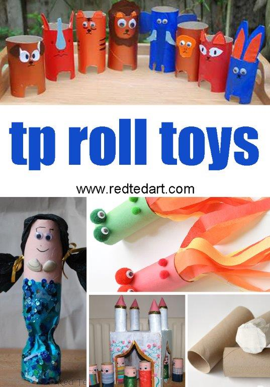 Toilet Paper Roll Crafts for Kids - make your own TP Roll Toys and TP Roll Play sets. Love these.