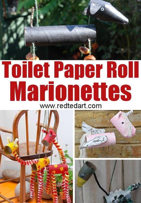 TP Roll Marionettes - use TP Rolls or Cardboard Tubes to make these fun recycled paper toys!