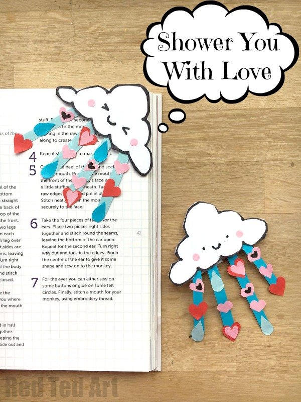 "Have a go at this OH SO CUTE ""Shower You With Love"" Corner Bookmark Design for Valentine's Day (or Mother's Day. Super cute bookmark ideas for all year on Red Ted Art #Cornerbookmarks #bookmarks #valentines"