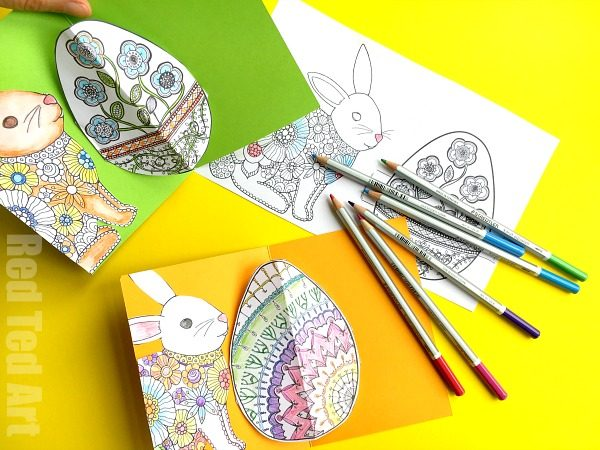 From Coloring Pages to easy Pop Up Easter Card