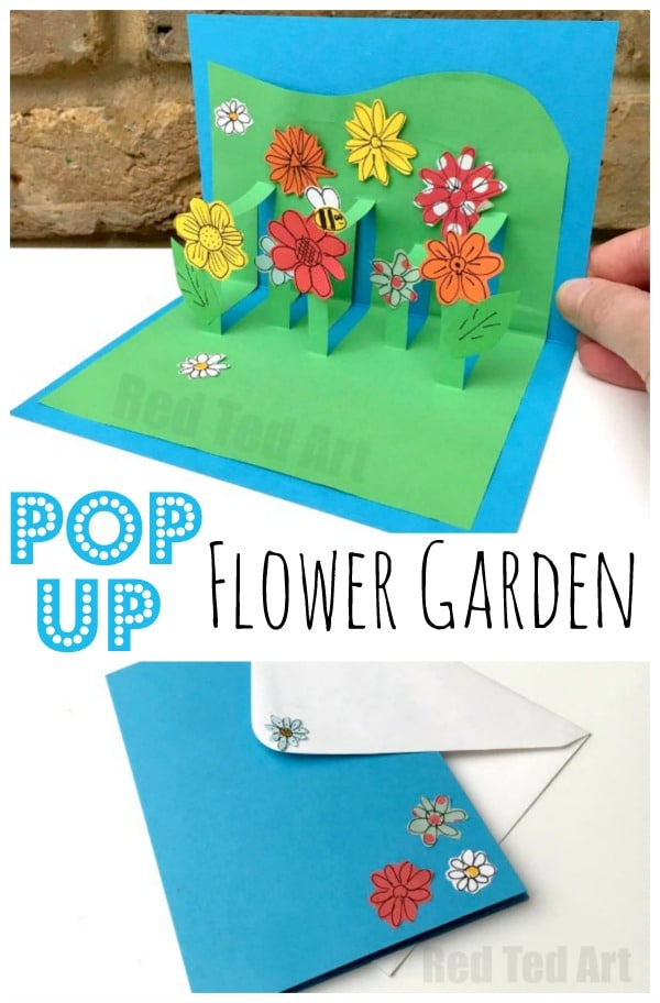 3d flower card diy pop up cards for kids red ted art 39 s for Pop up card craft
