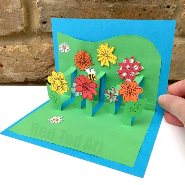 3d flower card diy pop up cards for kids red ted arts blog 3d flower card diy pop up cards for kids how to make 3d flower m4hsunfo Image collections