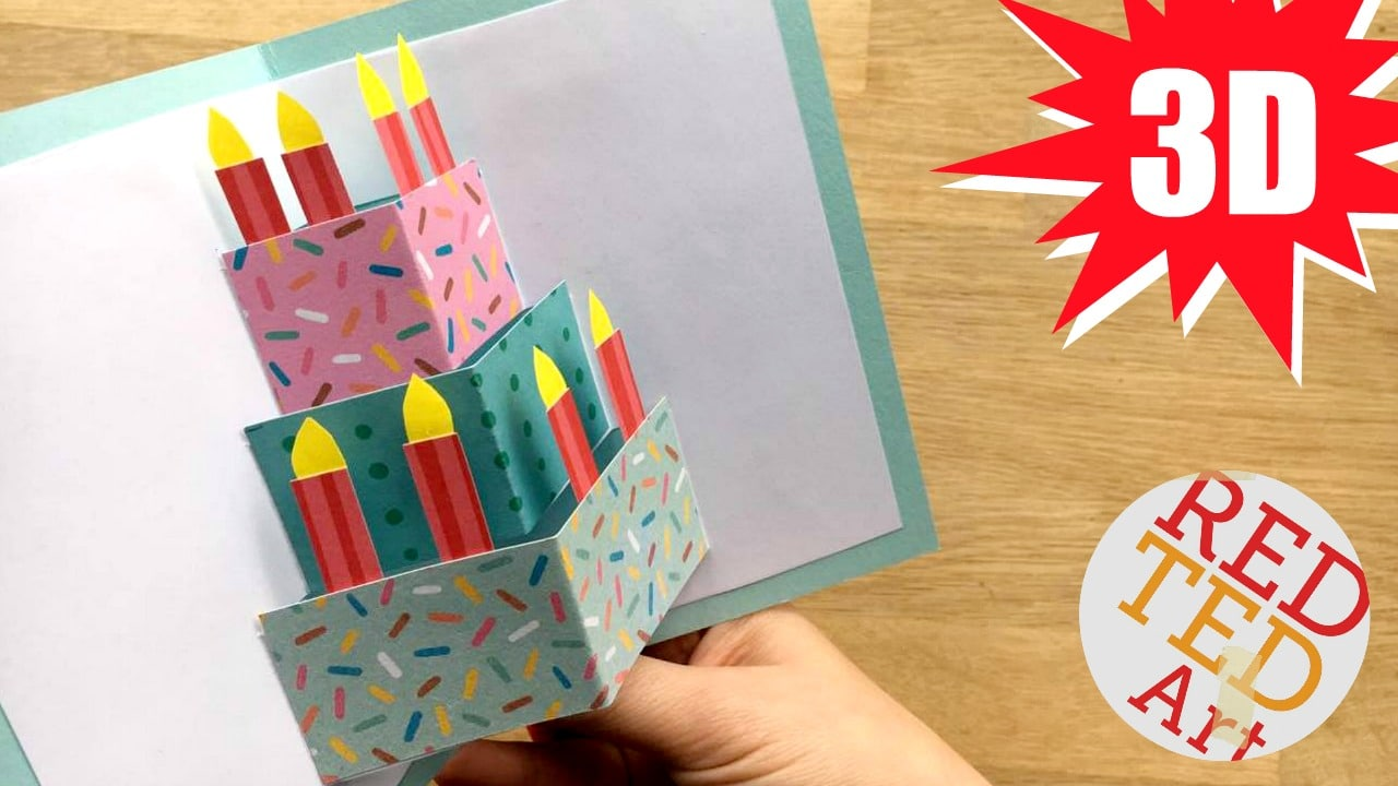 easy pop up birthday card diy  red ted art's blog
