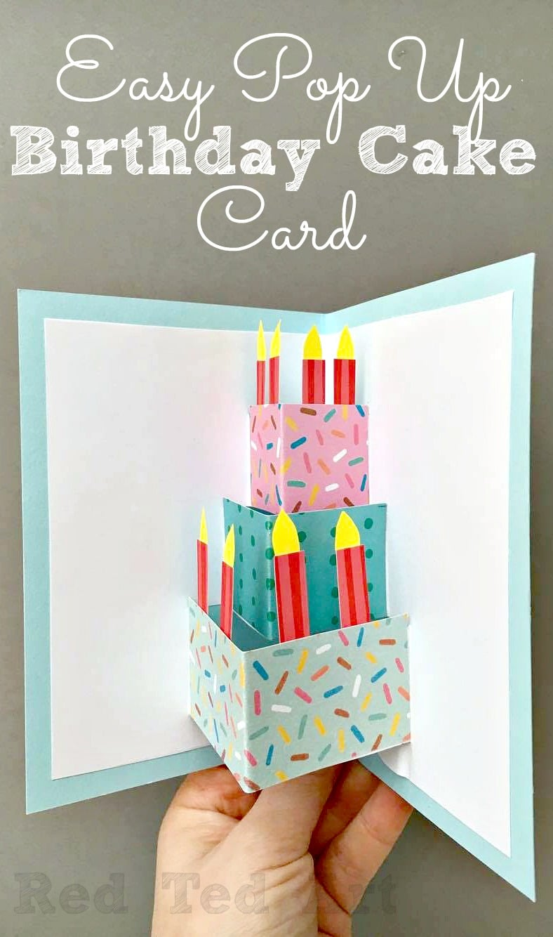 Easy Pop Up Birthday Card DIY - Red Ted Art - Make crafting with