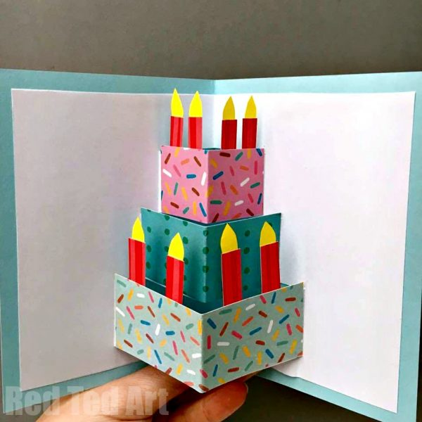 Easy Pop Up Birthday Card DIY Red Ted Arts Blog – Make a Pop Up Birthday Card