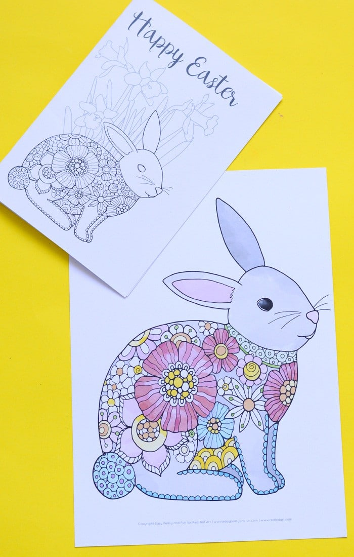 Easter Bunny Coloring Pages Red Ted Art