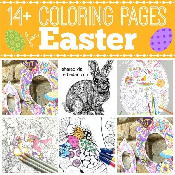 Free Easter Wreath Coloring Pages for Kids. Super cute and fun to make and assemble.