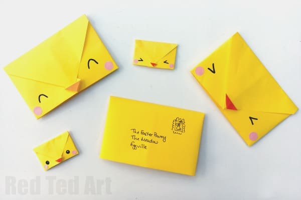 Must try these easy Origami Envelope Chick! Aren't they cute? Fold, decorate and write your letter... #easter #origami #envelope #spring #chicks #literacy