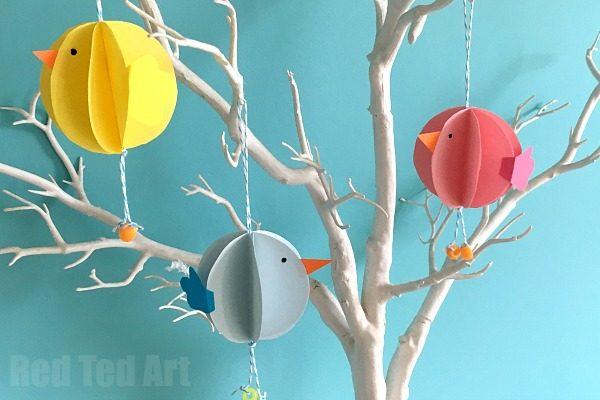Paper Chick Ornaments