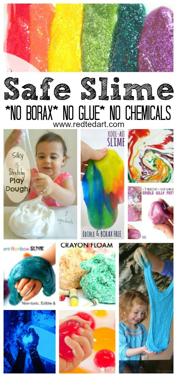 "No Borax Easy Slime Recipes - LOVE Slime? Have NO glue? NO Borax? NO Chemicals...??!! Check out these AMAZING play safe (and often ""taste"" safe) Slime Recipes for Kids. Explore, discover and have LOTS of sensory fun!!! The best sensory slime play activities for preschoolers and beyond. #Safeslime #noborax #slime #noglue #slimerecipes"