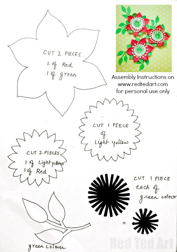 Pretty paper flowers diy including template red ted arts blog download your flower template here paper flowers mightylinksfo