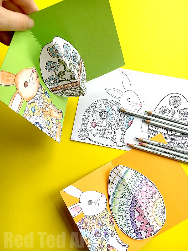 Easy pop up card how to projects red ted arts blog easy 3d pop up card how to easter coloring m4hsunfo