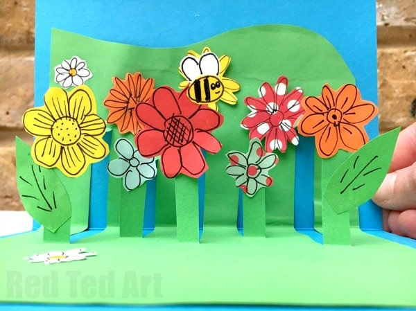 3d Flower Card Diy Pop Up Cards For Kids Red Ted Arts Blog