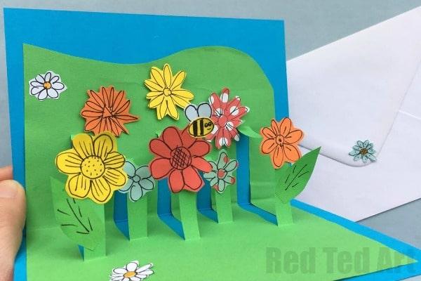3d flower card diy  pop up cards for kids  red ted art's