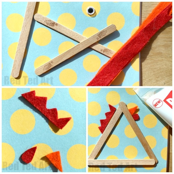 Craft Stick Chicks - super simple craft stick chickens for Easter Crafts and Spring Crafts for kids. Love this basic shape and adorable Chick result. So cute! #chicken #chick #easter #spring #preschool #chickcraft