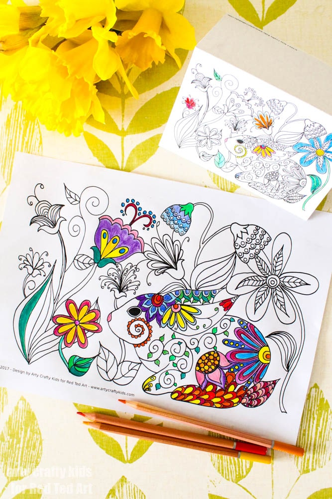 Spring Bunny Coloring Pages - Red Ted Art\'s Blog