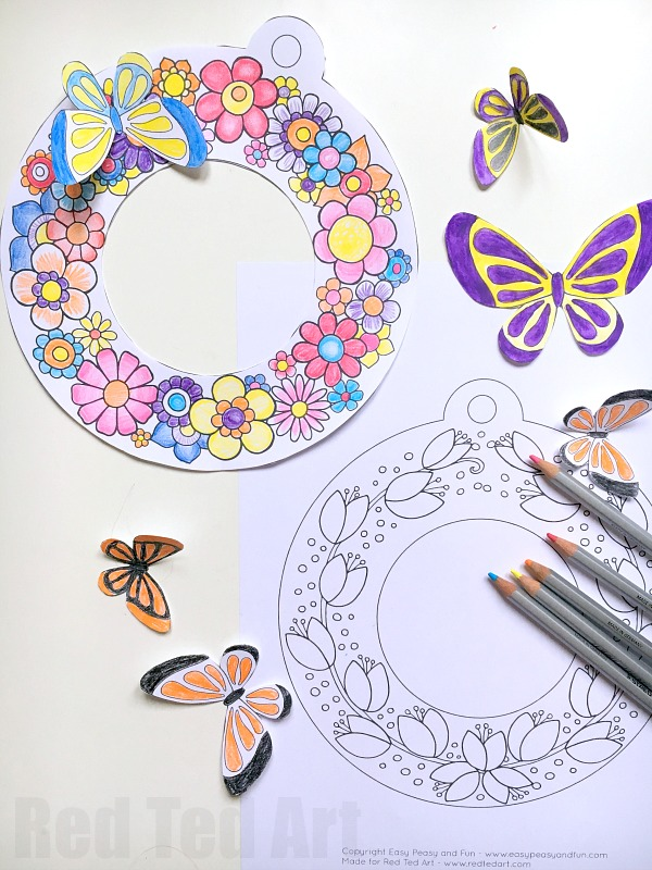 3D Spring Wreath Coloring Pages