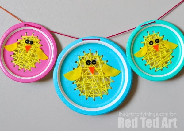 Paper Plate Chicks - this paper plate sewing craft is SO CUTE for Easter. Perfect fine motor skill activity for kids and simply the most adorable Paper Plate Chick Craft! String them up and turn them into a Chick Paper Plate Garland