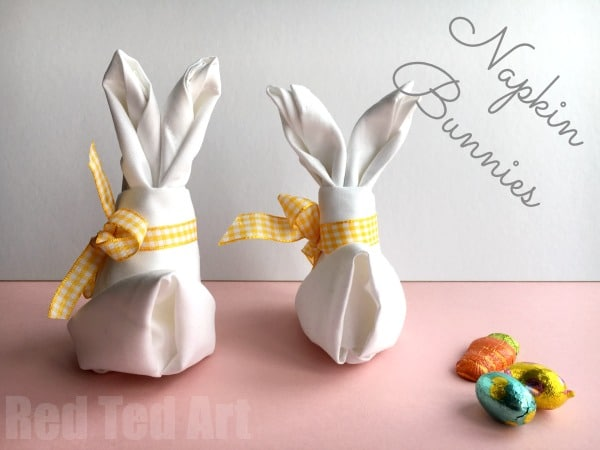 How to fold a bunny napkin for easter red ted art 39 s blog - Fold bunny shaped napkin ...