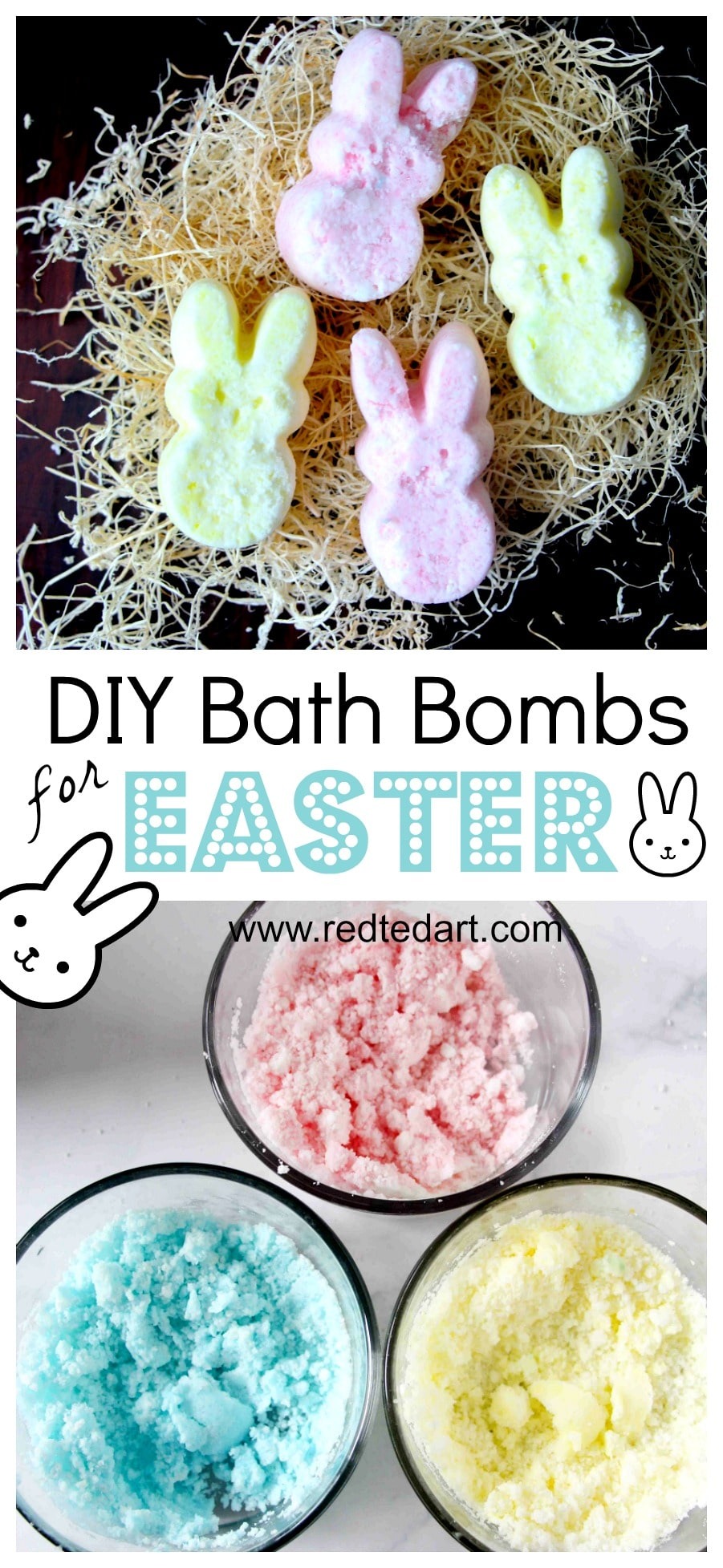"Easter Bath Bomb Recipe - adorable Peeps Bath Bombs - a great Easter Bath Bomb Recipe to make with or for the kids. Love this as an alternative ""no Treat Easter Gift"" for big and small. Make them as Bunny Peeps or Chick Peeps or whatever Easter shape you fancy. Great easy bath bombs recipe #bathbombs #bathbombrecipe #easter #eastergifts #easterbasket"