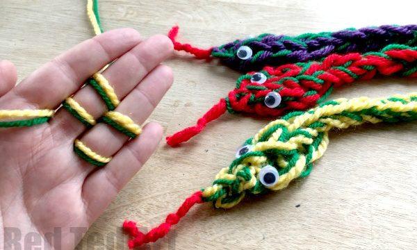 Finger Knitting Snakes
