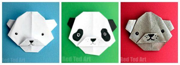 origami bear faces