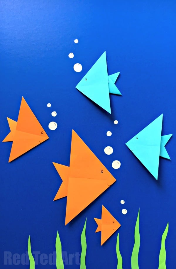 As Part Of A Under The Sea Collage Maybe Add Some Our Origami Whales To It And Could Also Look Lovely Simple Fish Mobile