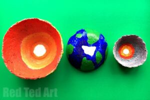 Papier mache layers of the earth educational craft