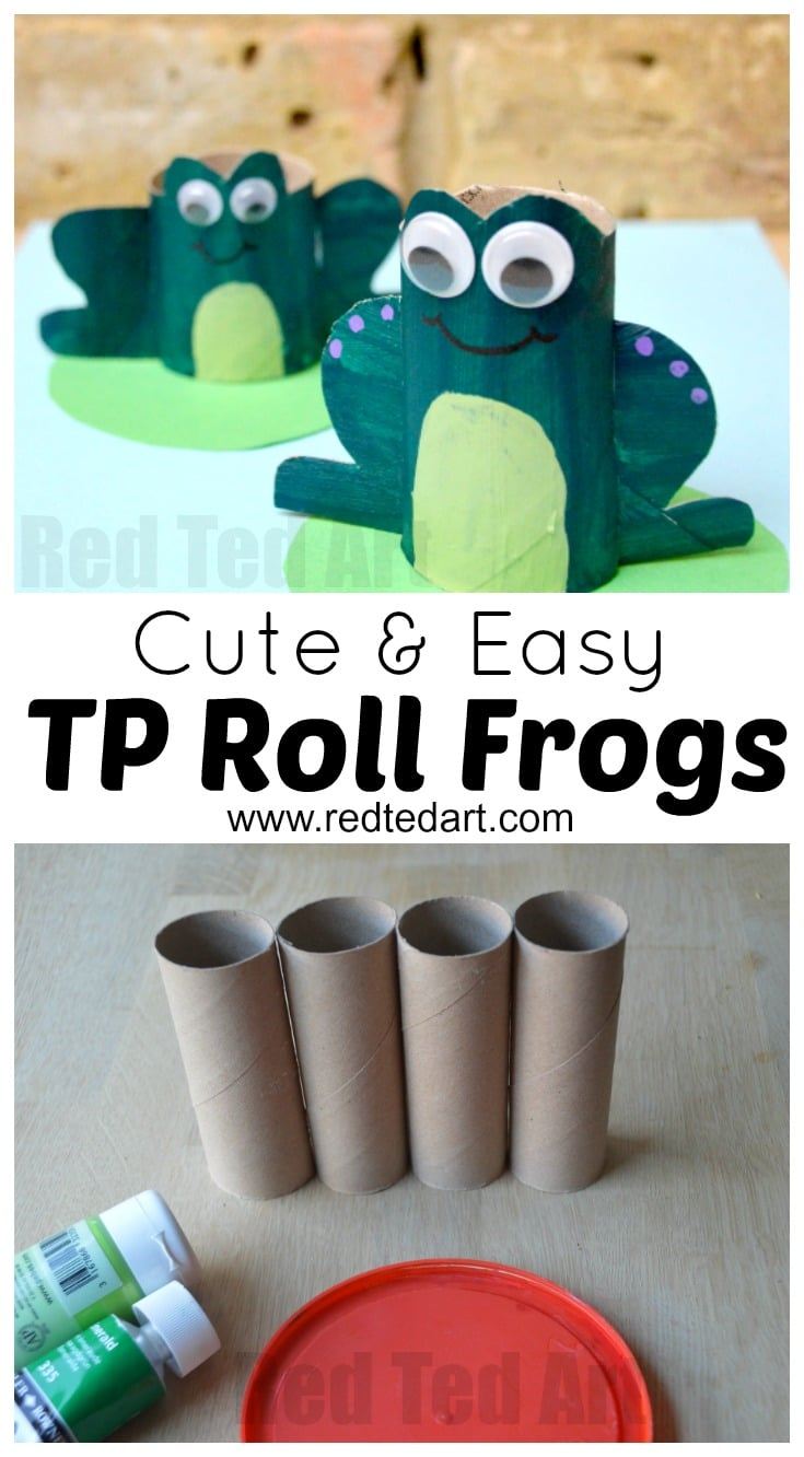 Toilet Paper Roll FROG Craft - oh man, these little frogs are so stinking cute! Love the upcycled TP Roll Craft for kids. Great for any playset and exploring the seasons. Lots more TP Roll Animal Crafts found here!