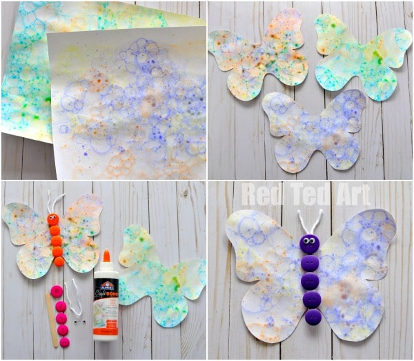Bubble Art Butterflies - oooh how we LOVE LOVE LOVE bubbles. We love making our own bubble solution and then creating super fun Bubble Art for summer. Check out this fabulous bubble activity for kids. And those little buttons are just irresistible!!!