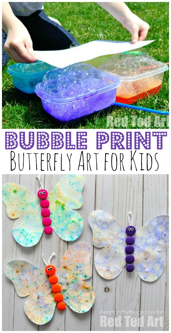 Bubble Art Butterflies - oooh how we LOVE LOVE LOVE bubbles. We love making our own bubble solution and then creating super fun Bubble Art for summer. Check out this fabulous bubble activity for kids. And those little buttons are just irresistible!!! #bubbles #bubbleart #bubbleactivities #butterflies #forkids #summer