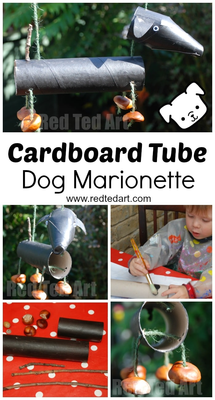 Adorable DOG CRAFT - if you love dogs and love crafting with recycled materials.. check out this cardboard tube Dog Marionette inspired by the Hairy MacClary Books. Such a fun Dog Craft!
