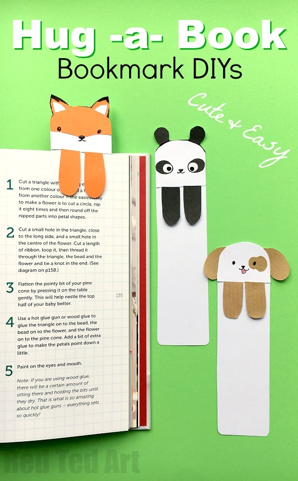 "Dog Bookmark - Cute Bookmark Ideas. Love DIY bookmarks? Looking for some cute and easy bookmark DIYs? Have a go at these ""hug a book"" bookmark animals. They are simply adorable and quick and easy to make. We have a super cute Dog DIY Bookmark, Fox DIY Bookmark and Panda DIY Bookmark AND.... if you are VERY short for time, we have some DIY Bookmark Printables, a black & white version for coloring and a fully colored one for quick assembly! Enjoy."