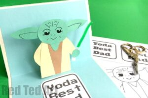 "Best Father's Day Card - make a 3d Pop Up Card ""Yoda best dad"""