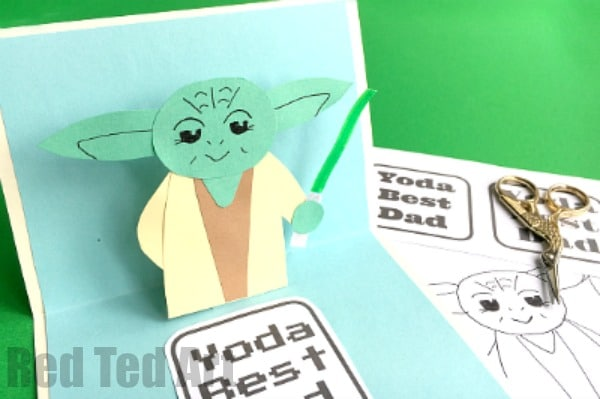 Pop Up Father's Day Card - Yoda Best Dad - fabulous and easy 3D Fathers Day card for Star Wars fans. This can be adapted for Birthdays, Teachers and of course Star Wars loving Mums. Make it from scratch following our step by step guide or use the fabulous Pop Up Father's Day Card PRINTABLES. May the Force be with you.